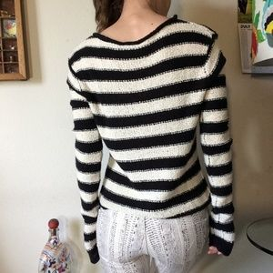 Free People Sweaters - Free People Beach Black White Striped Sweater